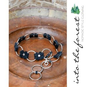 Accessories - Black Leather Flower Boho Belt with Silver Rings